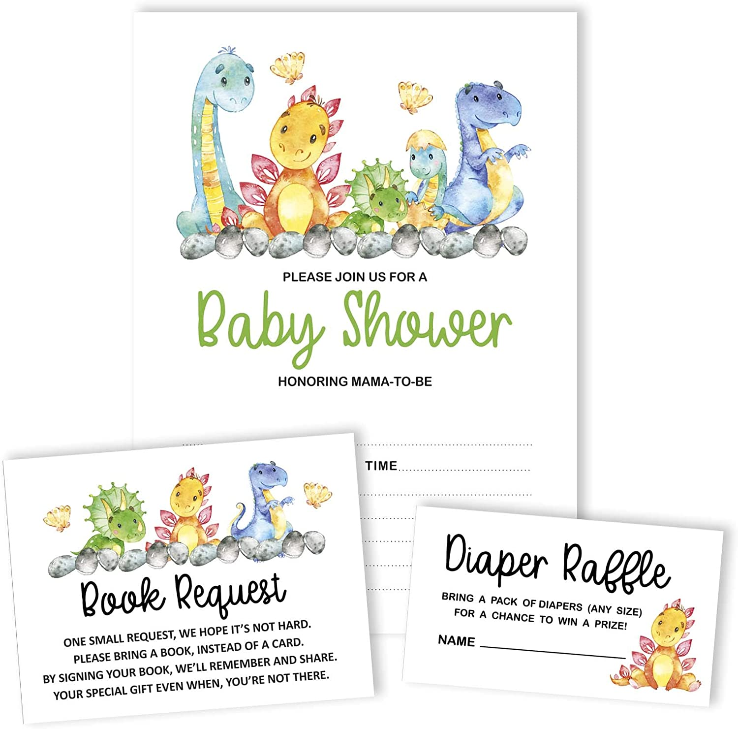 Inkdotpot 30/Dinosaur Jungle Animals Baby Shower Book Request Cards Bring A Book Instead of A Card Baby Shower Invitations Inserts Games