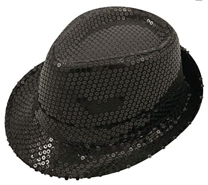 8dade83e Mens Sequin Trilby Gangster Hat Womens Disco Hen Party Fancy Dress Accessory  Black One Size: Amazon.co.uk: Clothing