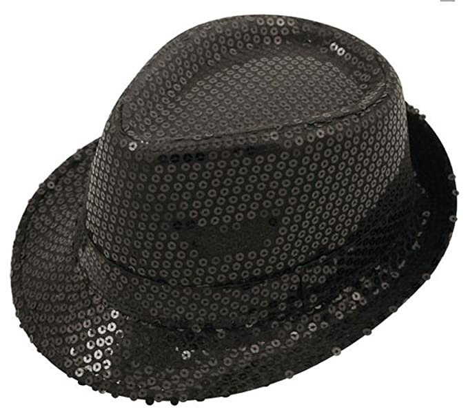 MA ONLINE Mens Sequin Trilby Gangster Hat Womens Disco Hen Party Fancy  Dress Accessory Black One 4919adf77d8