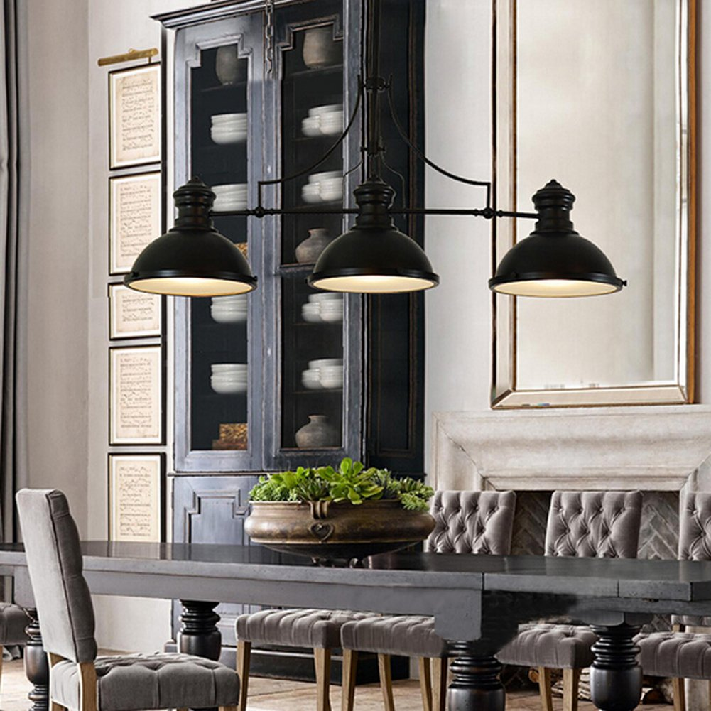 BAYCHEER HL416343 Industrial Retro Vintage Style Three Light Pool Table  Light Linear Island Chandelier Pendant Light Lampe With 35.43 Inch Length  Chain In ...