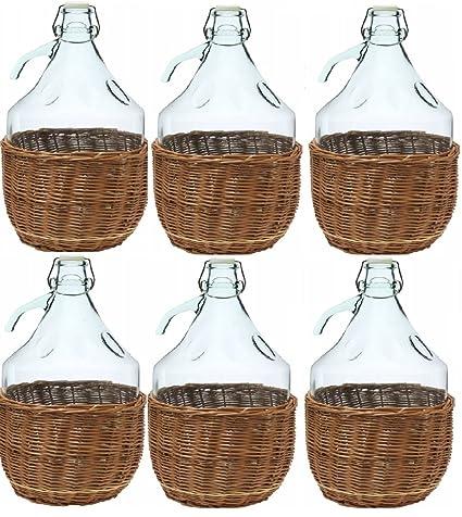 6 x Cristal Globo gärballon Cristal Botella de vino globo globo 5L cierre de clip bdw5d