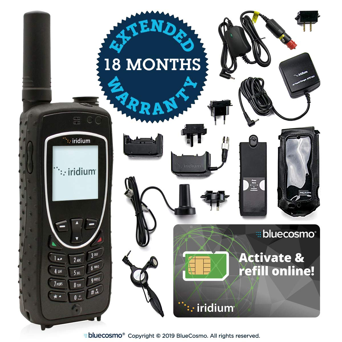 BlueCosmo Iridium Extreme Satellite Phone Bundle - Only Truly Global Satellite Phone - Voice, SMS Text Messaging, GPS Tracking, Emergency SOS - Prepaid SIM Card Included - Online Activation - 24/7 by BlueCosmo