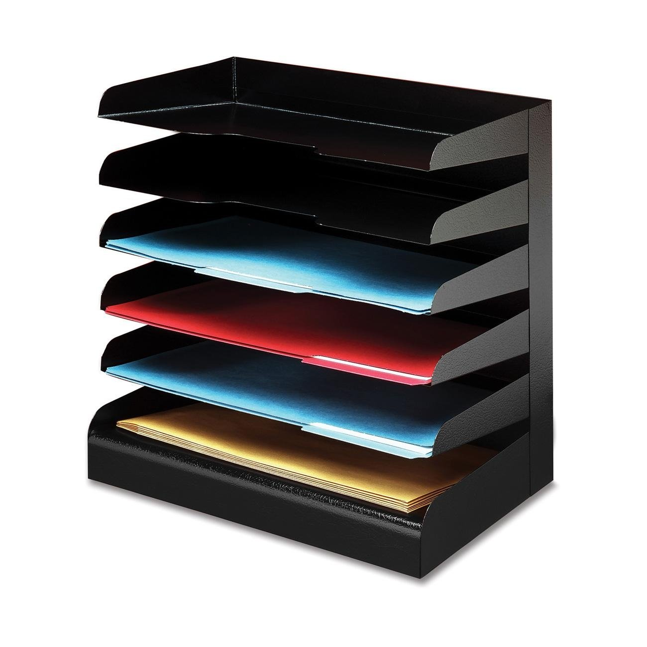 Buddy Products Classic 6 Tier Trays, Legal Size, Steel, 9.5 x 14.375 x 15 Inches, Black (0416-4) by Buddy Products