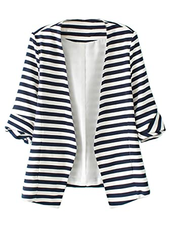 Choies Women's Blue And White Stripes Roll Up Sleeve Slim Blazer ...