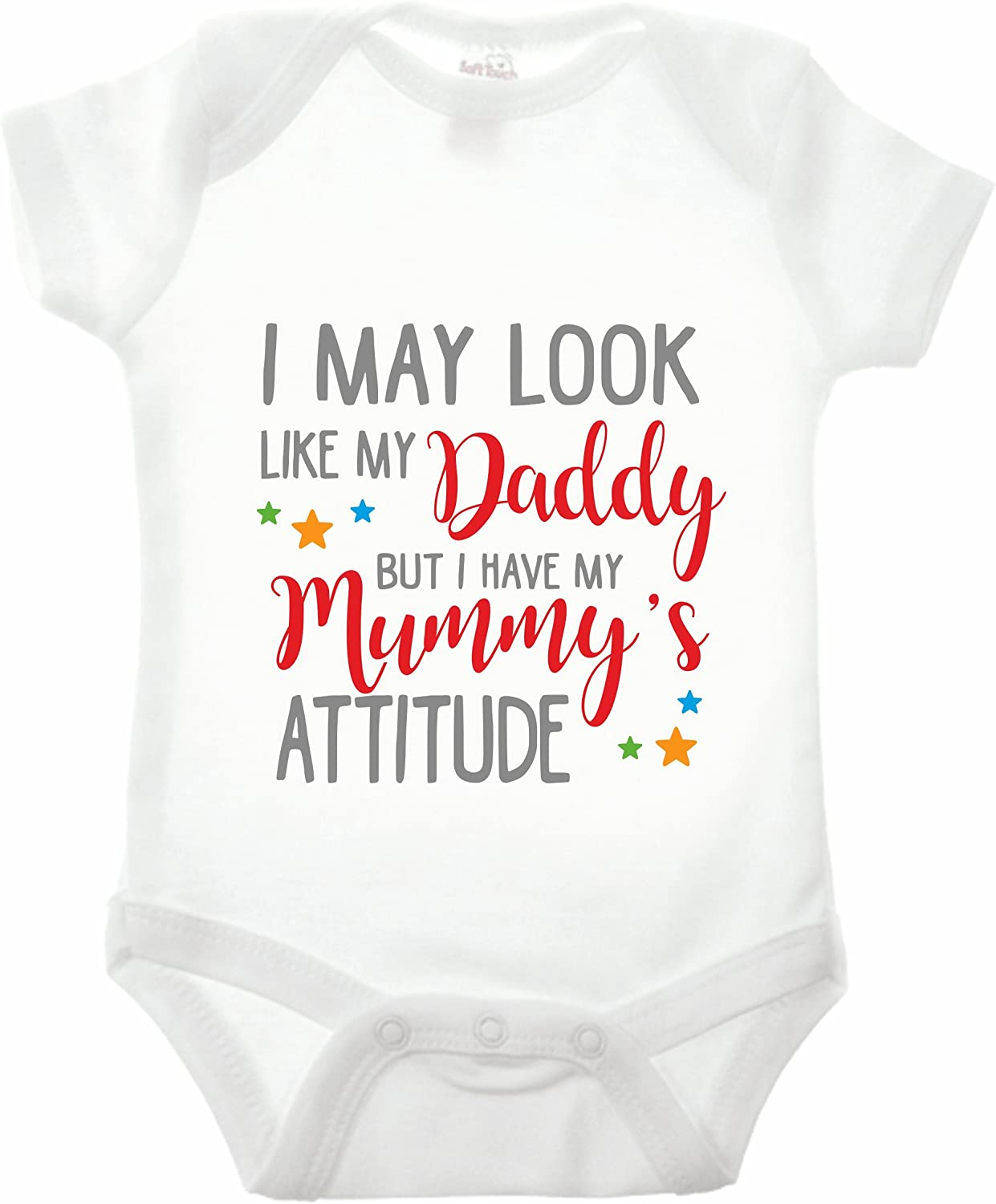 Bullshirt I May Look Like My Daddy But I Have My Mummys Attitude Babygrow