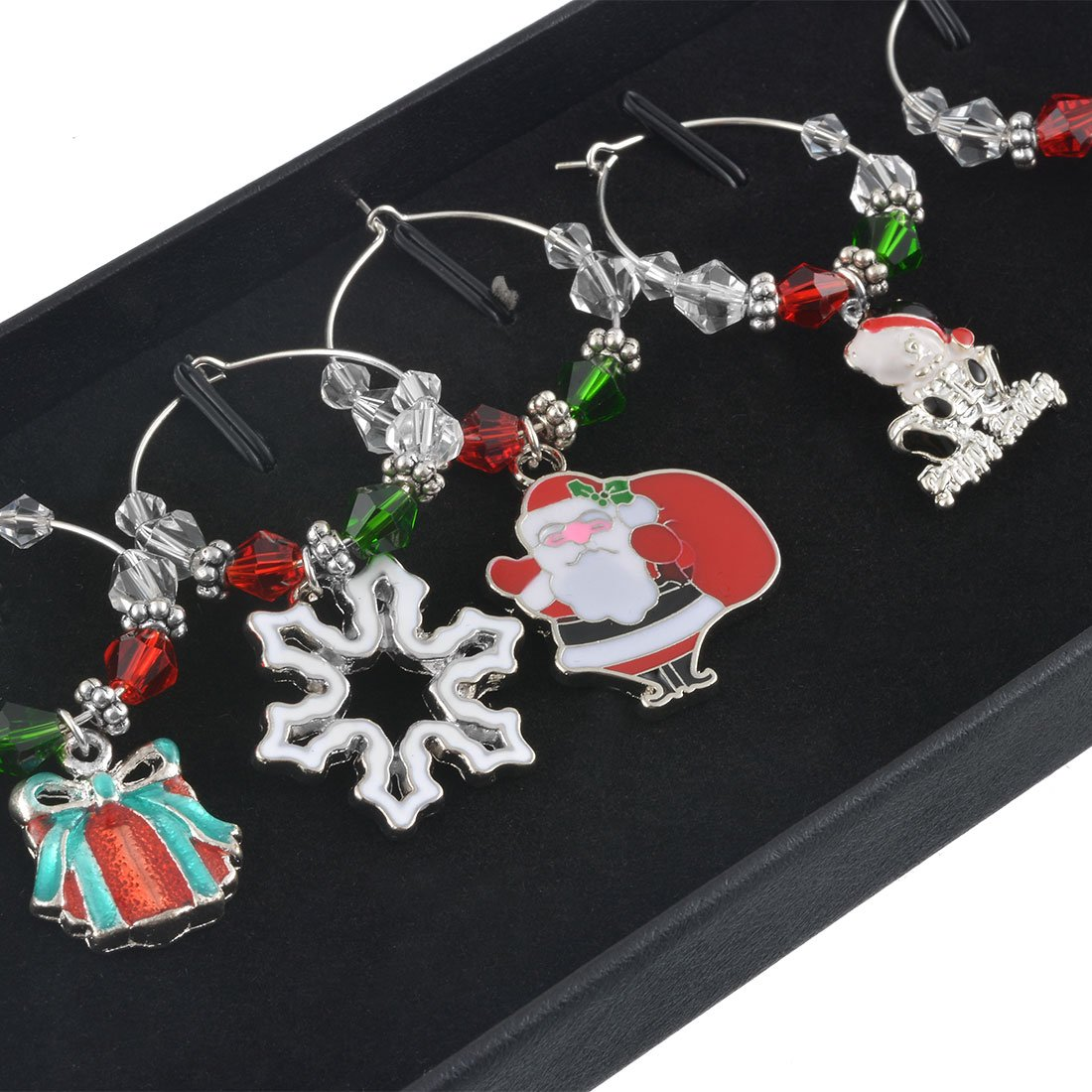 Souarts Mixed 6pcs Glass Charms Marker Tags Set with Gift Box Christmas Father Elk Snowflake Gift Bell Pendants by Souarts (Image #1)