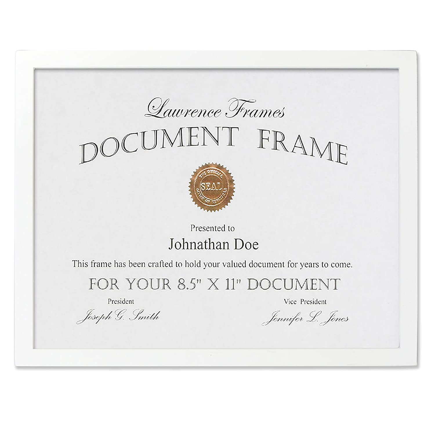 Amazon.com - Lawrence Frames White Wood Certificate Picture Frame ...