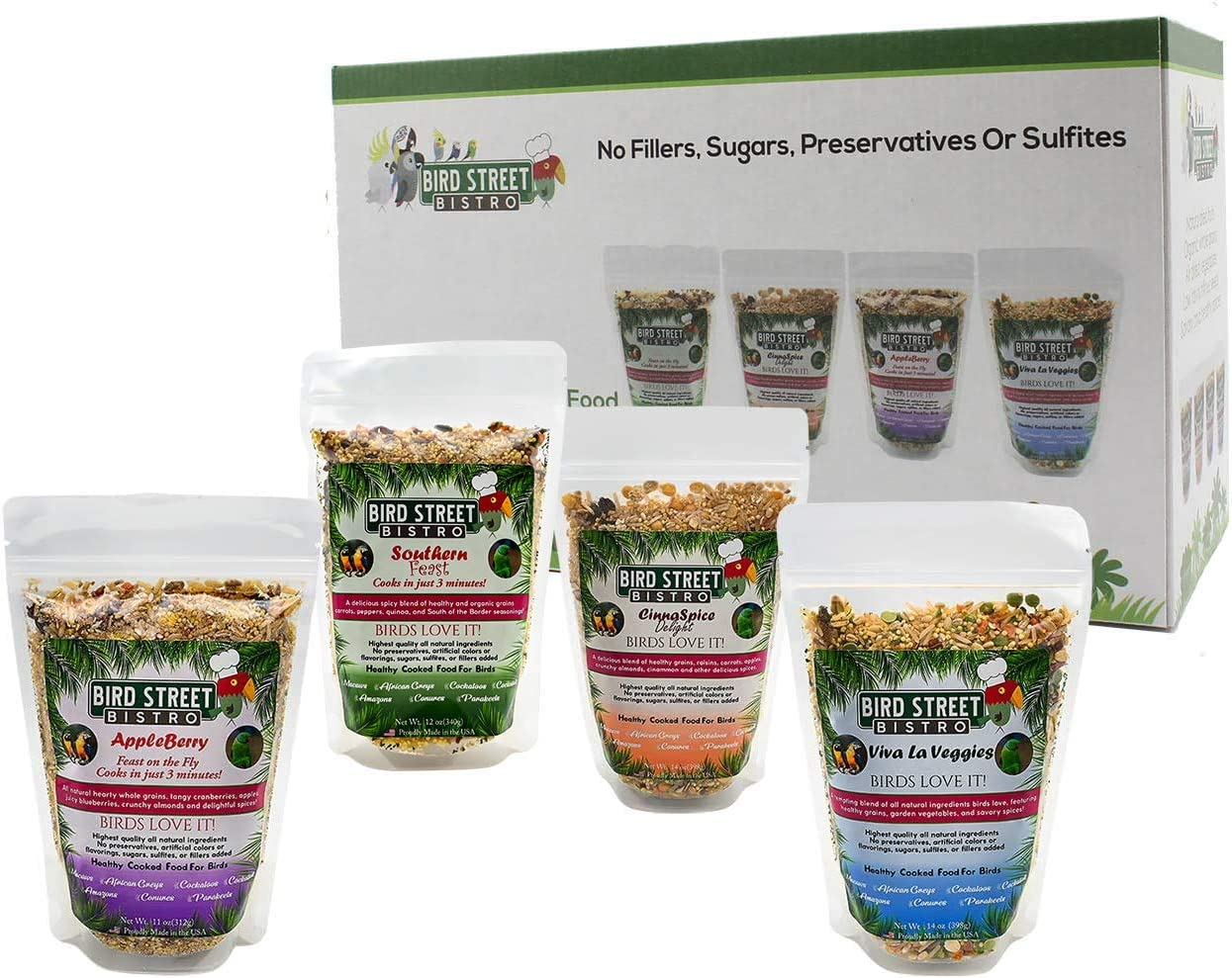 Bird Street Bistro Parrot Food Sample Pack Cooks in as Little as 3 min | All Natural & Organic Grains and Legumes, Healthy Fruits, Vegetables, and Spices - No Fillers or Additives (Large 86 oz.)