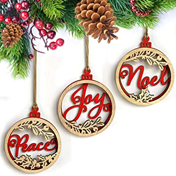 amazon com christmas tree hanging ornament lovewe 3pcs wooden