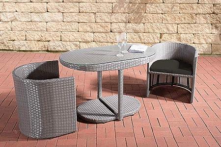 CLP Polyrattan Sitzgruppe Bayamo I Robuste Gartenm/öbel Mit Aluminiumgestell I 3-Teiliges Garten-Set aus Flachrattan I Sand anthrazit
