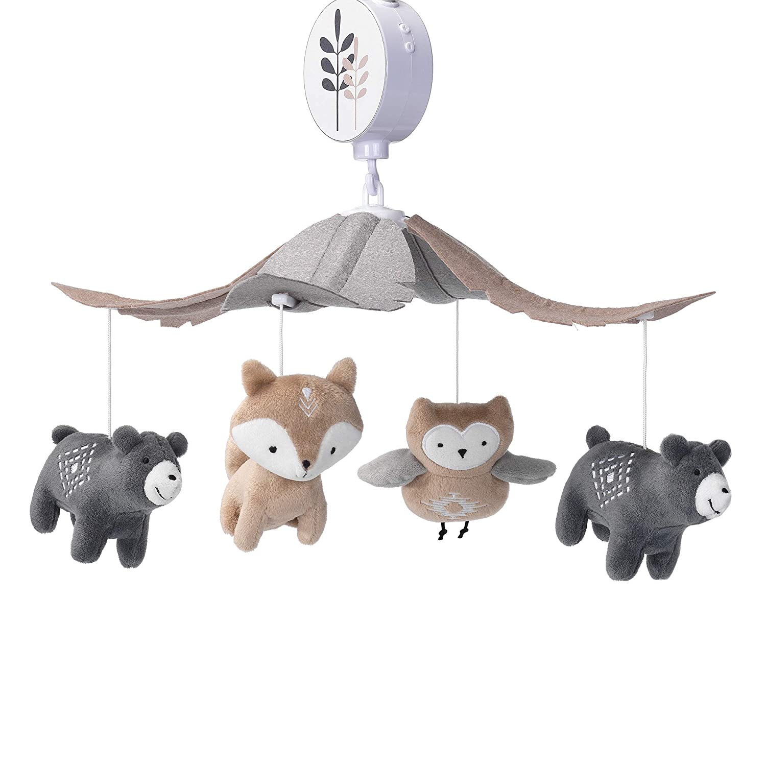 Lambs /& Ivy Woodland Forest Gray//Tan Musical Baby Crib Mobile Soother Toy