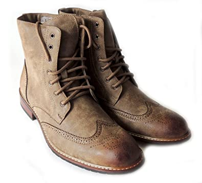 1cca1332fe7 Mens HIGH Ankle Boots Leather Lined LACE UP Oxfords Wing TIP Zippered Dress  Shoes M828A /Brown