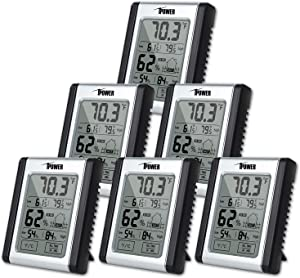 iPower Digital Hygrometer Indoor Thermometer, Humidity Monitor Gauge Indicator Accurate Temperature Meter with Touchscreen, Min/Max Records, for Home, Office, Car, Greenhouse, Babyroom, 6 Pack