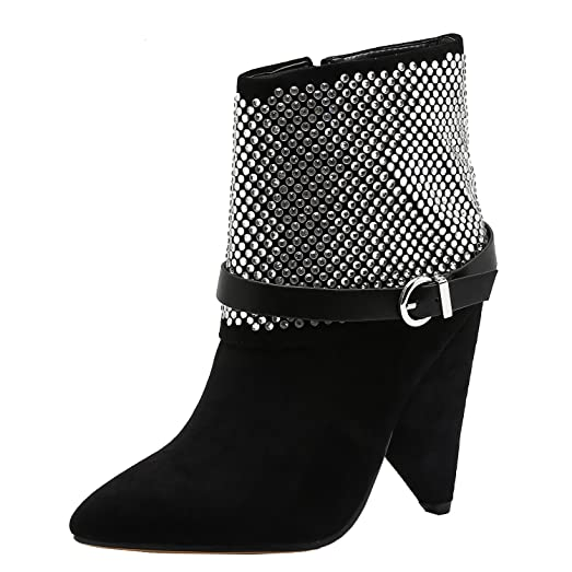 Vivi Women's Suede Black Heel Pointed Ankle Boots With Rhinestone