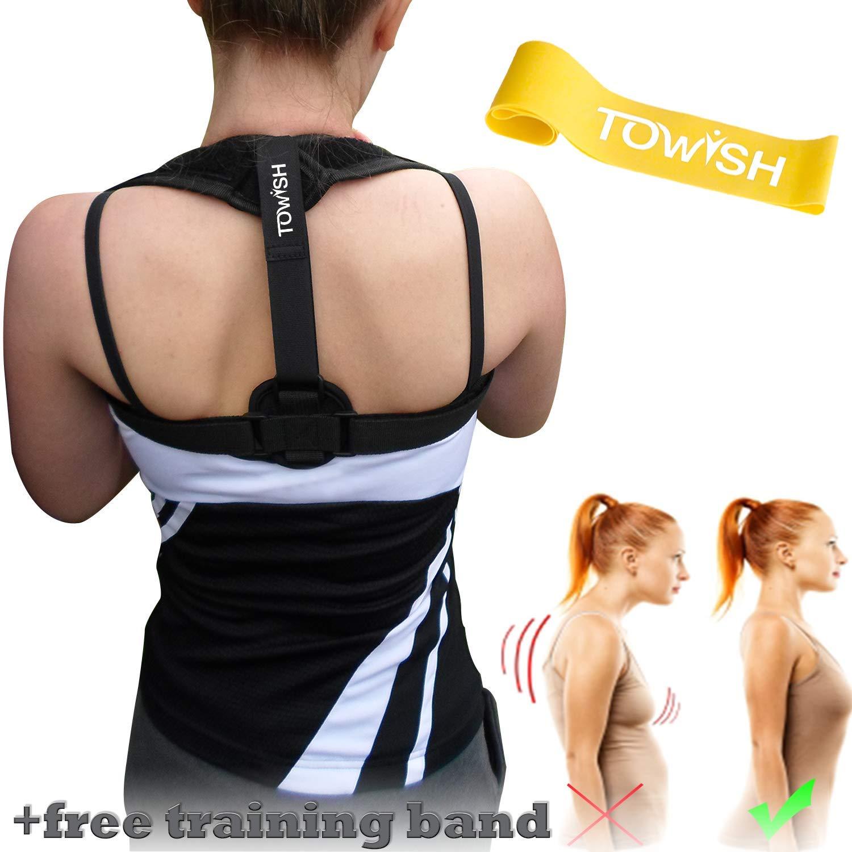 Back Brace Posture Corrector - Best Fully Adjustable Support Brace - Improves Posture - Provides Back Support & Relief Upper Back Pain | for Women and Men
