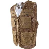 MagiDeal Men's Cotton Breathable Journalist Photographer Waterproof Fishing Vest Quick-Drying Photograper Multi-Pocket Vests