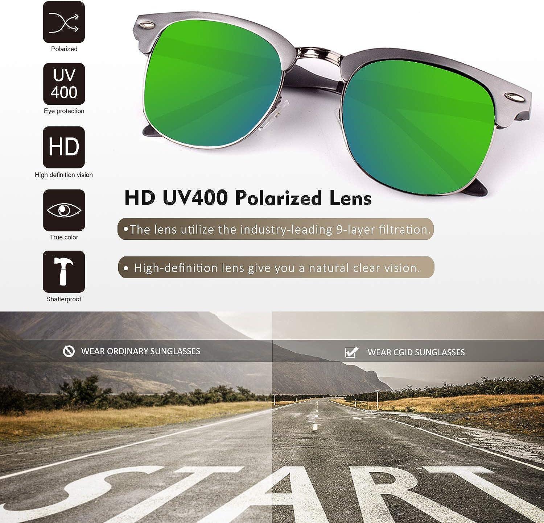 CGID Al-Mg Legierung Stil Polarisierte Sonnenbrillen UV400 Sonnen brillen mit Metall nieten Herren Damen GD58,CE