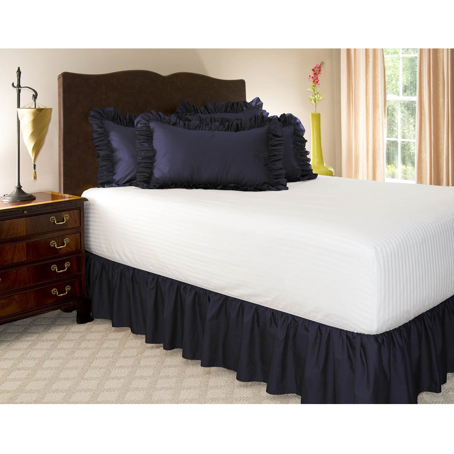 Amazon Com Ruffled Bedskirt Twin Navy Blue 18 Inch Bed Skirt