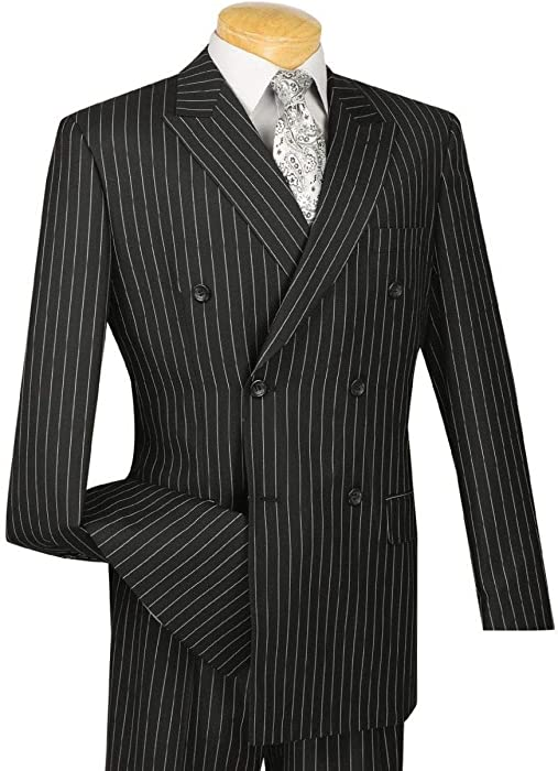 7ad66bf357faa VINCI Men's Gangster Pinstriped Double Breasted 6 Button Classic-Fit ...