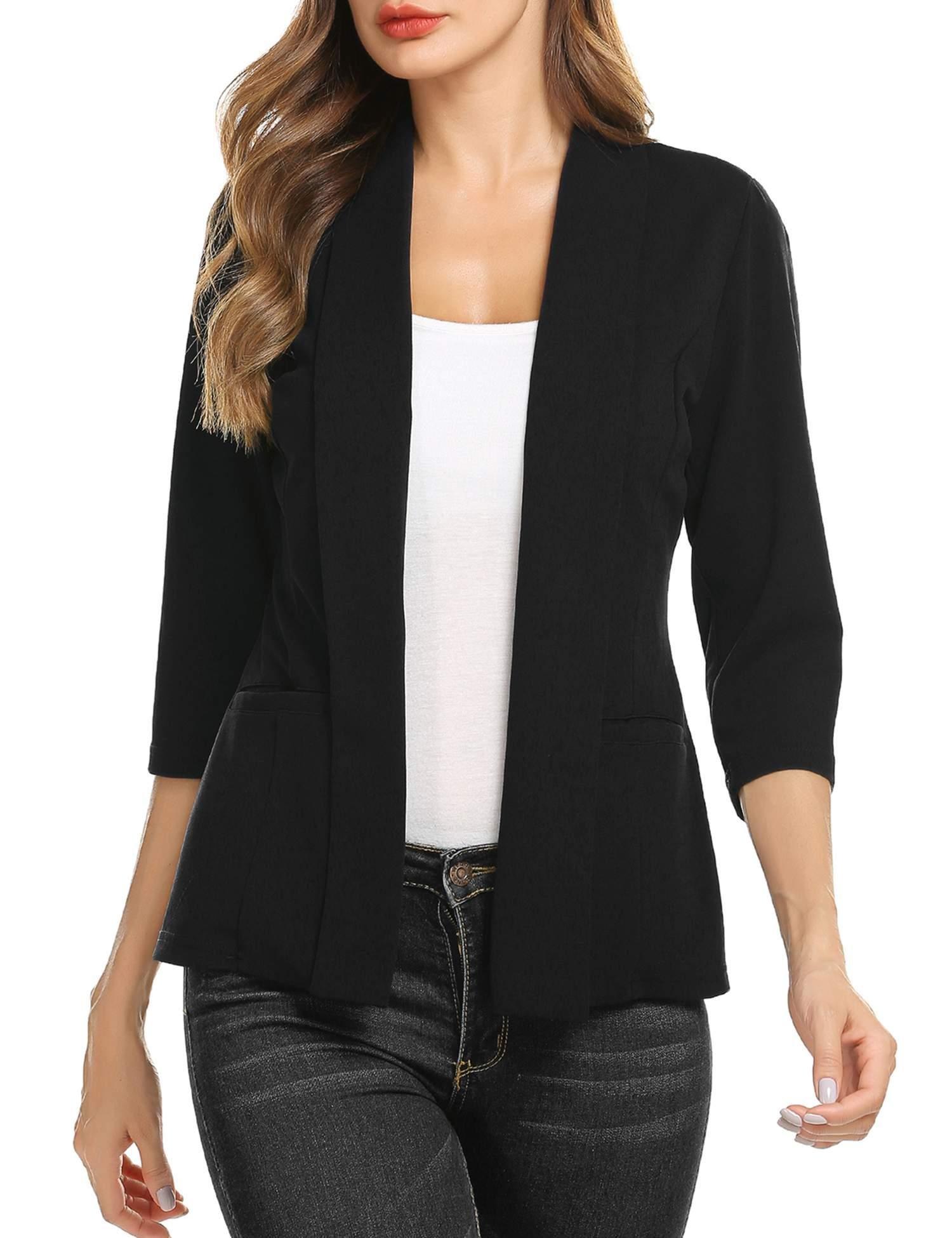 Concep Womens Plus Size Blazer Jackets Casual Business Slim Fit Solid Suit Cardigans Plus Size (Black, M)