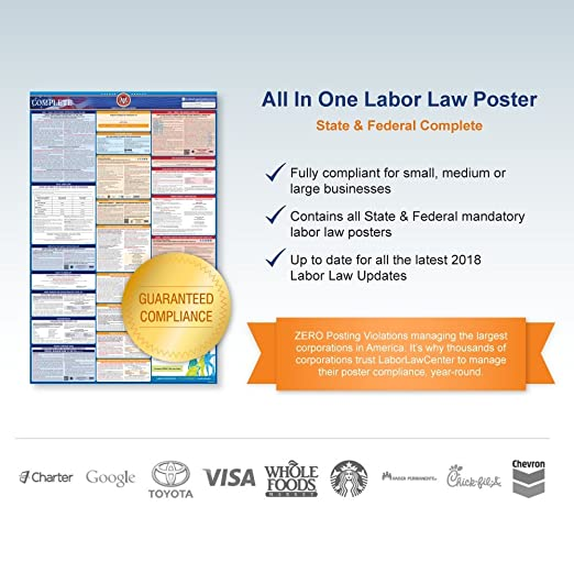 Amazon 2018 california labor law poster state federal amazon 2018 california labor law poster state federal compliant laminated prints office products sciox Images
