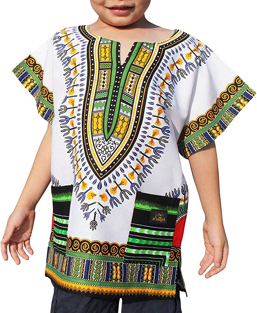T Shirt for Kids Viahwyt Baby Clothing Boy Girl Unisex Bright African Colour Child Dashiki T Shirt,1-6 Years T-Shirt Top for Children