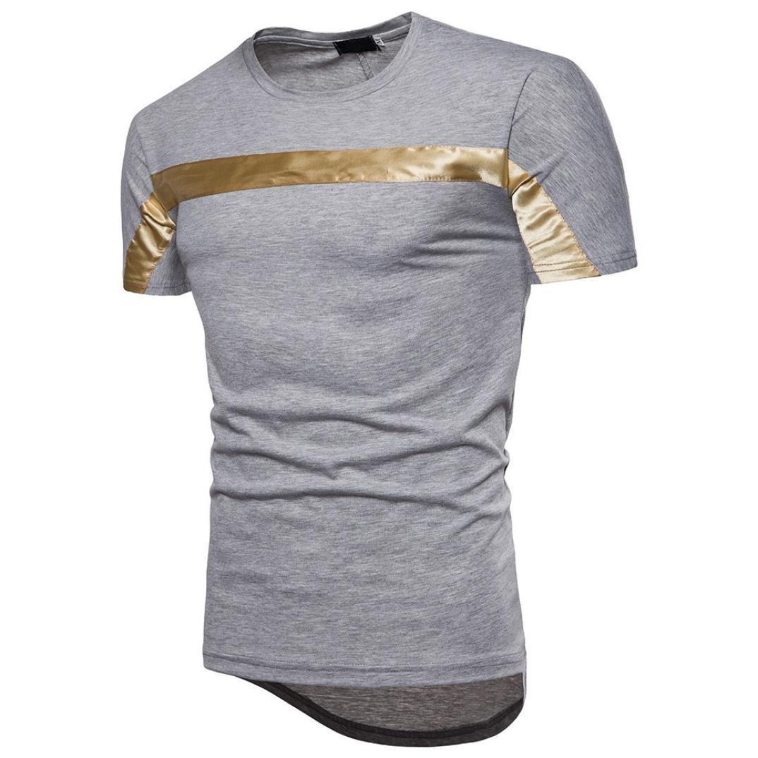 Camiseta Hombres, ❤ Manadlian Moda Hombres Blusa de manga corta Camisa Pullover Top casual de patchwork Camisa (CN:XL, Gris): Amazon.es: Belleza