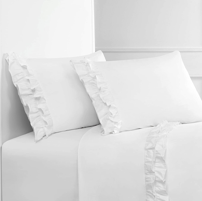 Melange Home Percale Cotton Double Ruffle CK Sheet Set, Cal King, White