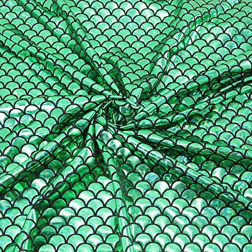 - Mermaid Hologram Spandex Fabric Fish Scale 4 Way Stretch Laser Knit Cloth 58