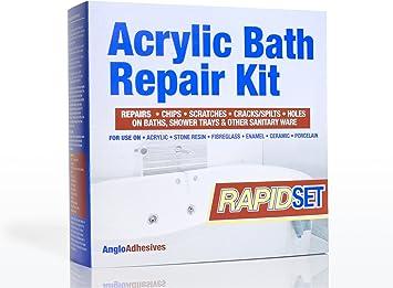 Kit de reparación acrílico para bañeras - Rápida aplicación - Repara esquirlas, arañazos, grietas y fisuras en bañeras y platos de duchaColor blanco.: Amazon.es: Bricolaje y herramientas