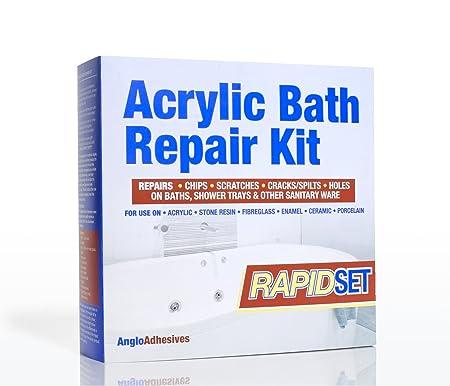 Acrylic Bath Repair Kit - Rapid Setting - Repairs Chips, Scratches ...