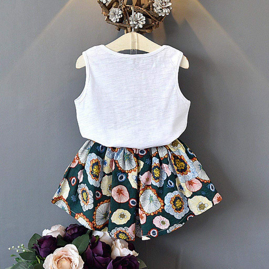Fabal Toddler Kid Baby Girl Outfits Clothes Letter Vest T-Shirt Tops+Floral Shorts Set