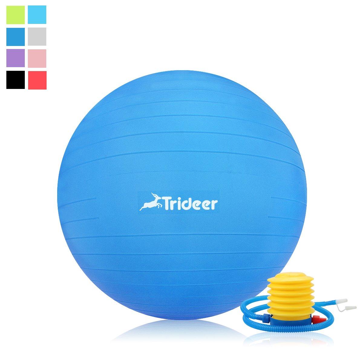 Trideer 45-85cm Exercise Ball, Birthing Ball, Ball Chair, Yoga Pilate Fitness Balance Ball with Pump Plug Kit, Anti-Slip & Anti-Burst (Dark Blue, 65cm) by Trideer (Image #2)