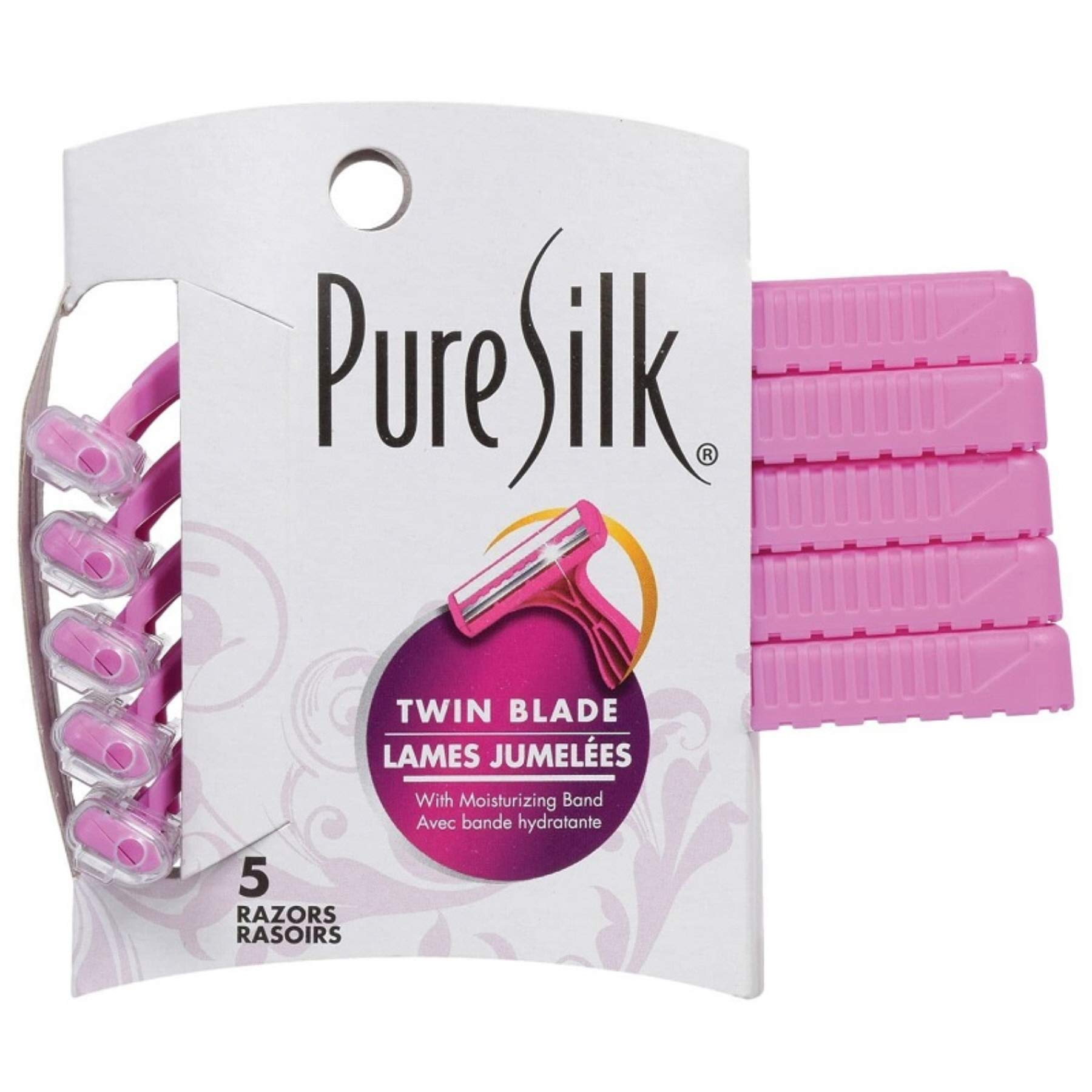 (Pack of 36, 180 Ct) Pure Silk Razors Twin Blade with Lube Strip for Women