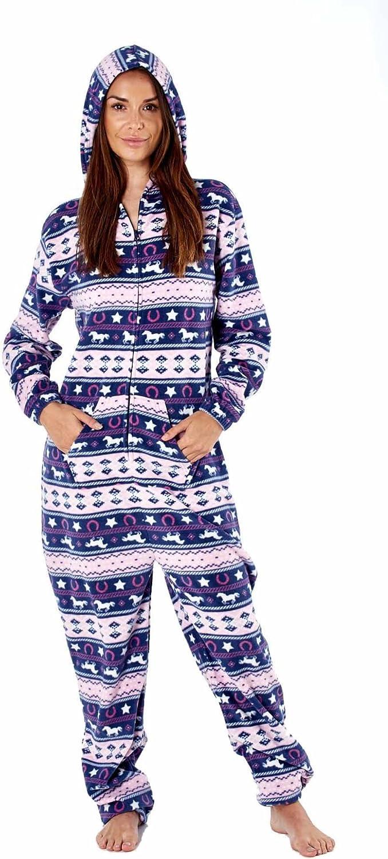 Navy Platinum Ladies Fairisle Design Hooded Fleece Onesie