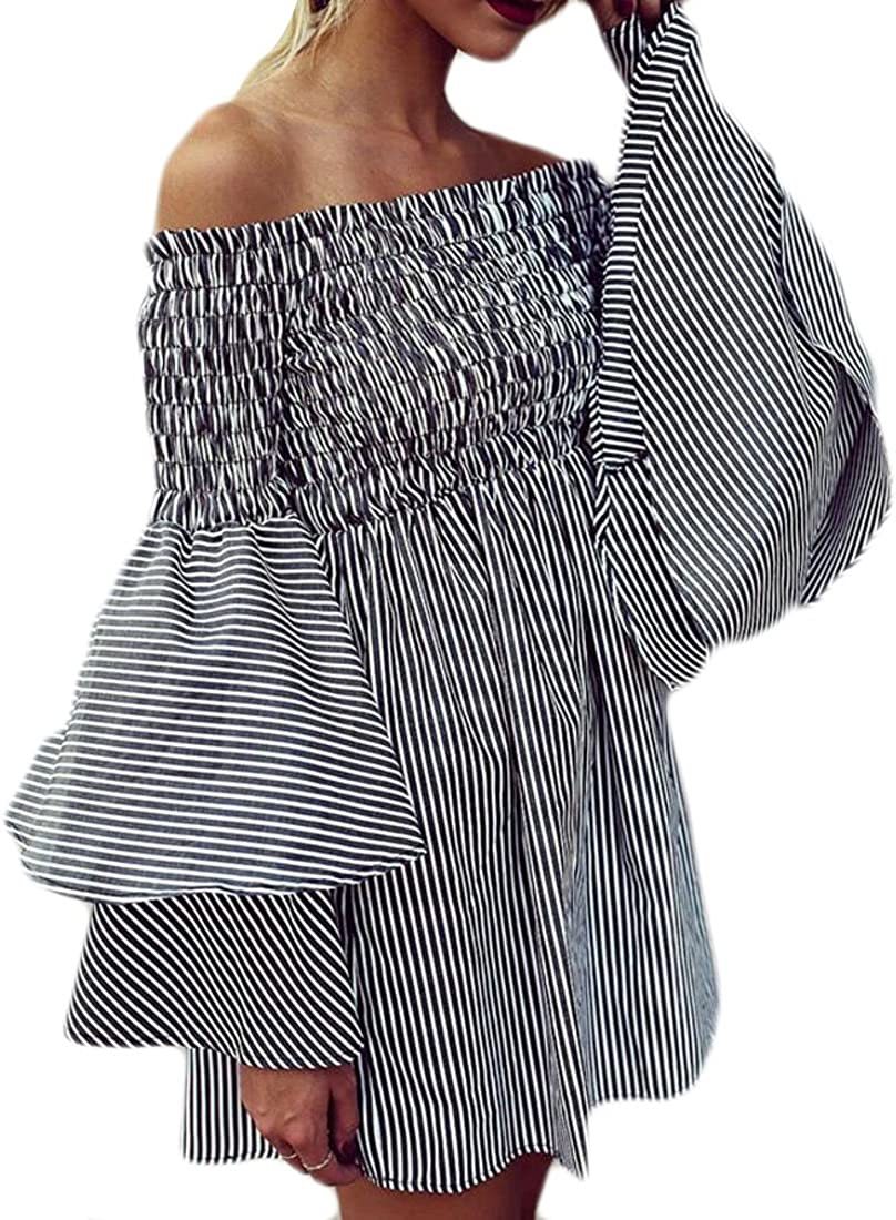 Fubotevic Womens Trumpet Sleeves Stripe Strapless Off Shoulder Summer Cocktail Party Club Mini Dress