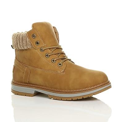 136b091431802 Ajvani Womens Ladies Low Heel Fleece Cuff Chunky Worker Style Ankle Boots  Size 3 36 Tan