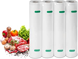 """Vacuum Sealer Bags for Food 4 Pack 11"""" x 25' Commercial Grade BPA Free Vacuum Seal Bags for Food Storage, Embossed Heavy Duty 7mil Food Saver Bags Rolls for Sous Vide, Microwave & Freezer Safe (Total 100 Feet)"""