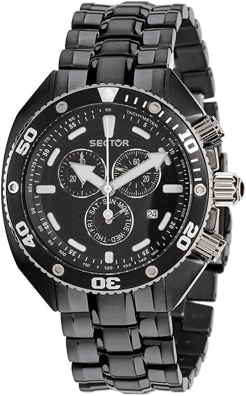 Sector R3273670325 - Reloj cronógrafo de Cuarzo para Hombre con Correa de Acero Inoxidable, Color Negro