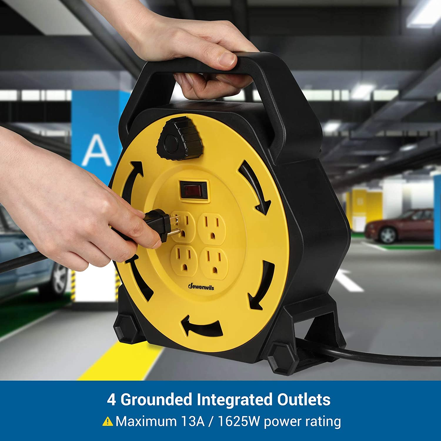 Yellow//Black 4 Grounded Outlets UL Listed Hand Wind Retractable 16//3 AWG SJTW 13 Amp Circuit Breaker DEWENWILS Extension Cord Reel with 25 FT Power Cord