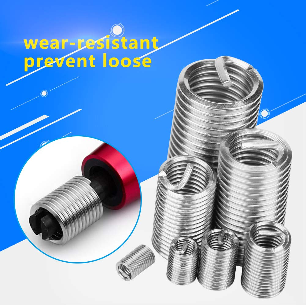 M3 M4 M6 M8 M10 M12 Thread Repair Insert 304 Stainless Steel Coiled Wire Helical Screw Thread Inserts Assortment Kit with Plastic Box 55pcs