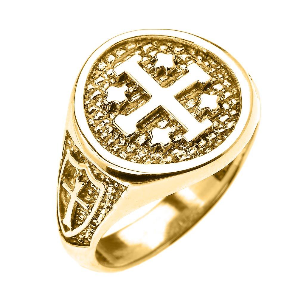14k Yellow Gold Knights Templar Shield Crusader Band Jerusalem Cross Ring for Men (Size 9)