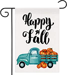 Dsweesun Happy Fall Vintage Blue Truck Pumpkin Garden Flag 12 x 18 Double Sided, Harvest Pumpkin Flag, Rustic Farmhouse Autumn Thanksgiving ​Front Porch Yard Outdoor Décor