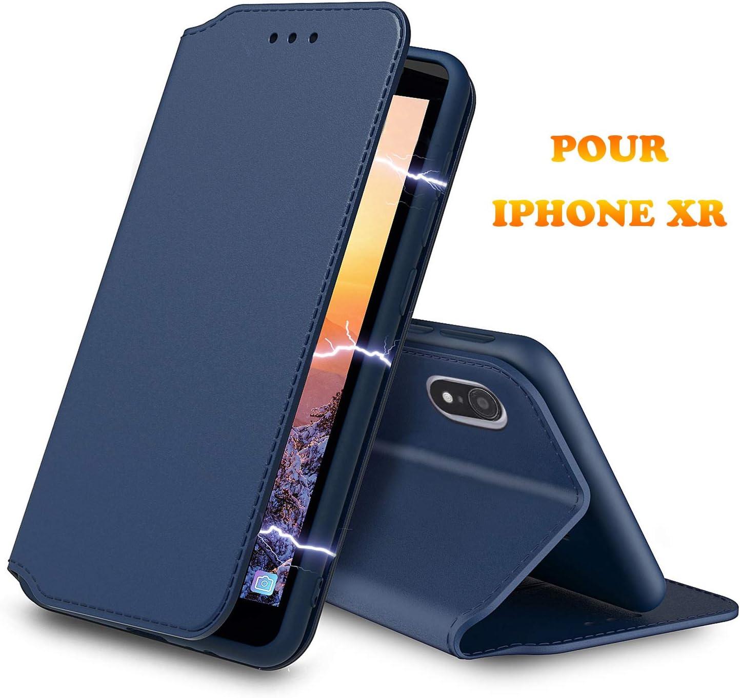 , Etui Slim Noir AURSTORE Etui Coque pour iPhone XR Fermeture Magn/étique 6,1 Pouces Fonction Support Iphone XR , Protection Housse en Cuir PU Portefeuille Livre, Emplacements Cartes pour ,