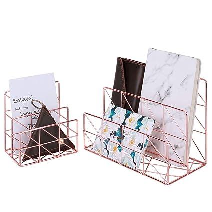 Nugoo 2 en 1 Soporte para cartas, 2 ranuras de metal para tarjetas de visita, postales, correos y folletos, organizador de almacenamiento ...