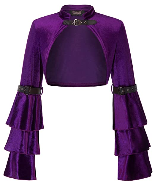 d351025129 Women Steampunk Gothic Jacket Shrug Vintage Bell Sleeve Ruffled Satin Shrug  Purple S