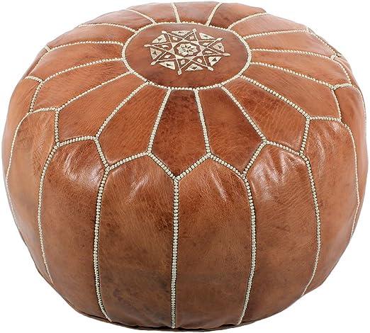 albena Marokko Galerie 30 116 Nagma orientalisches Sitzkissen Leder D 50cm H 30cm braun