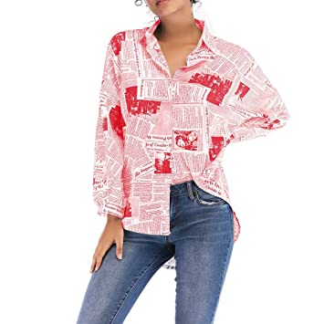 T-Shirt Tops Blouses TAOtTAO Suéter de Manga Larga con Cuello ...