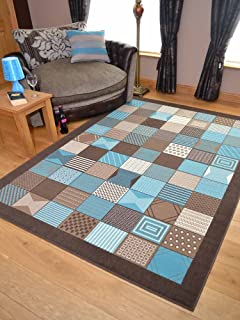 Trend Brown Teal Window Design Rug. Available In 8 Sizes (120cm X 170cm)