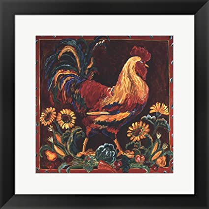 Amazon Rooster Rustic By Suzanne Etienne Framed Art Print Wall